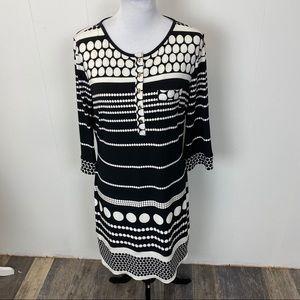 Boston Proper Black and White Polka Dot Midi Dress